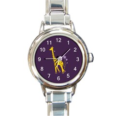Purple Roller Skating Cute Cartoon Giraffe Round Italian Charm Watch