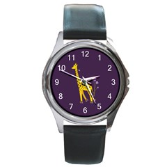 Purple Roller Skating Cute Cartoon Giraffe Round Leather Watch (Silver Rim)