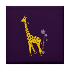 Purple Roller Skating Cute Cartoon Giraffe Ceramic Tile