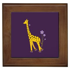 Purple Roller Skating Cute Cartoon Giraffe Framed Ceramic Tile