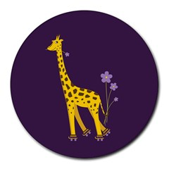 Purple Roller Skating Cute Cartoon Giraffe 8  Mouse Pad (Round)