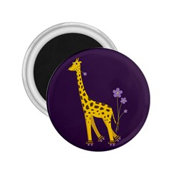 Purple Roller Skating Cute Cartoon Giraffe 2.25  Button Magnet