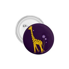 Purple Roller Skating Cute Cartoon Giraffe 1.75  Button