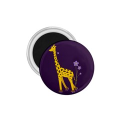 Purple Roller Skating Cute Cartoon Giraffe 1.75  Button Magnet