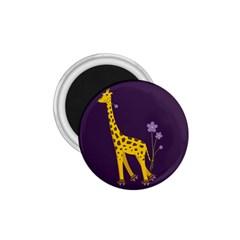 Purple Roller Skating Cute Cartoon Giraffe 1 75  Button Magnet