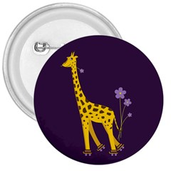 Purple Roller Skating Cute Cartoon Giraffe 3  Button