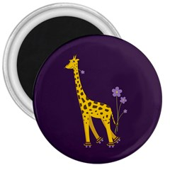 Purple Roller Skating Cute Cartoon Giraffe 3  Button Magnet