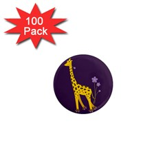 Purple Roller Skating Cute Cartoon Giraffe 1  Mini Button Magnet (100 pack)