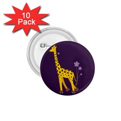 Purple Roller Skating Cute Cartoon Giraffe 1.75  Button (10 pack)
