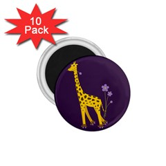 Purple Roller Skating Cute Cartoon Giraffe 1.75  Button Magnet (10 pack)