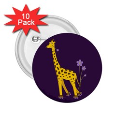 Purple Roller Skating Cute Cartoon Giraffe 2.25  Button (10 pack)
