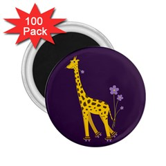 Purple Roller Skating Cute Cartoon Giraffe 2 25  Button Magnet (100 Pack)