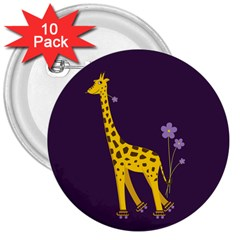 Purple Roller Skating Cute Cartoon Giraffe 3  Button (10 Pack)