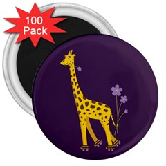 Purple Roller Skating Cute Cartoon Giraffe 3  Button Magnet (100 pack)