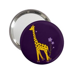 Purple Roller Skating Cute Cartoon Giraffe Handbag Mirror (2.25 )