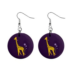 Purple Roller Skating Cute Cartoon Giraffe Mini Button Earrings