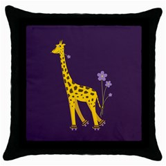 Purple Roller Skating Cute Cartoon Giraffe Black Throw Pillow Case