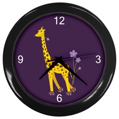 Purple Roller Skating Cute Cartoon Giraffe Wall Clock (Black)