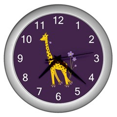 Purple Roller Skating Cute Cartoon Giraffe Wall Clock (Silver)