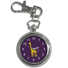 Purple Roller Skating Cute Cartoon Giraffe Key Chain Watch