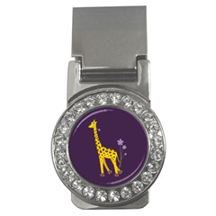 Purple Roller Skating Cute Cartoon Giraffe Money Clip (CZ)