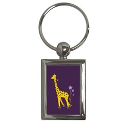 Purple Roller Skating Cute Cartoon Giraffe Key Chain (Rectangle)