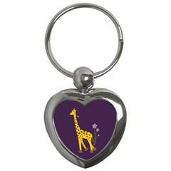 Purple Roller Skating Cute Cartoon Giraffe Key Chain (heart)