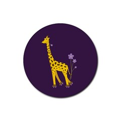 Purple Roller Skating Cute Cartoon Giraffe Drink Coasters 4 Pack (round)
