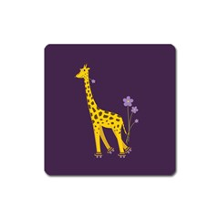 Purple Roller Skating Cute Cartoon Giraffe Magnet (Square)