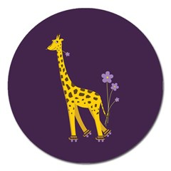 Purple Roller Skating Cute Cartoon Giraffe Magnet 5  (Round)