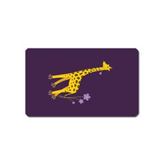 Purple Roller Skating Cute Cartoon Giraffe Magnet (Name Card)