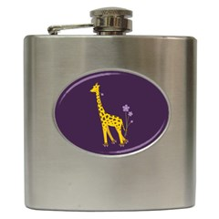 Purple Roller Skating Cute Cartoon Giraffe Hip Flask