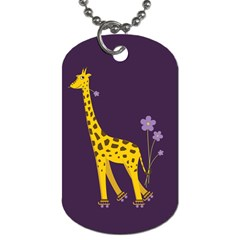 Purple Roller Skating Cute Cartoon Giraffe Dog Tag (two Sided)