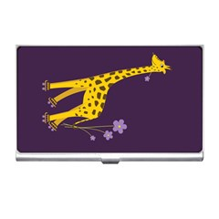 Purple Roller Skating Cute Cartoon Giraffe Business Card Holder