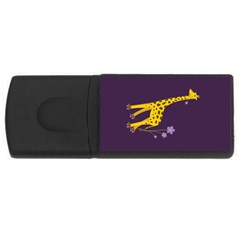Purple Roller Skating Cute Cartoon Giraffe 1GB USB Flash Drive (Rectangle)
