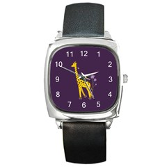 Purple Roller Skating Cute Cartoon Giraffe Square Leather Watch