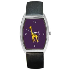 Purple Roller Skating Cute Cartoon Giraffe Tonneau Leather Watch