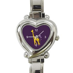 Purple Roller Skating Cute Cartoon Giraffe Heart Italian Charm Watch