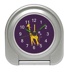 Purple Roller Skating Cute Cartoon Giraffe Desk Alarm Clock