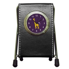Purple Roller Skating Cute Cartoon Giraffe Stationery Holder Clock