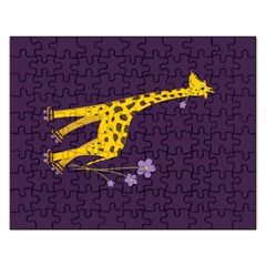 Purple Roller Skating Cute Cartoon Giraffe Jigsaw Puzzle (rectangle)
