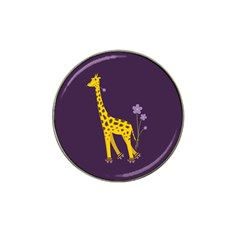 Purple Roller Skating Cute Cartoon Giraffe Golf Ball Marker (for Hat Clip)