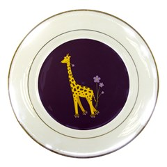 Purple Roller Skating Cute Cartoon Giraffe Porcelain Display Plate