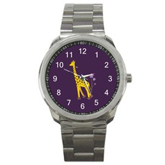 Purple Roller Skating Cute Cartoon Giraffe Sport Metal Watch