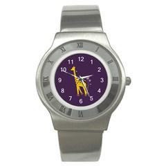 Purple Roller Skating Cute Cartoon Giraffe Stainless Steel Watch (slim)