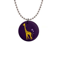 Purple Roller Skating Cute Cartoon Giraffe Button Necklace