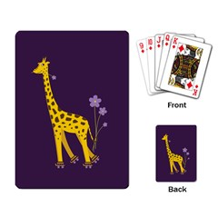 Purple Roller Skating Cute Cartoon Giraffe Playing Cards Single Design