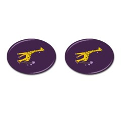 Purple Roller Skating Cute Cartoon Giraffe Cufflinks (oval)