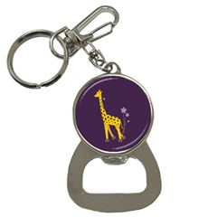 Purple Roller Skating Cute Cartoon Giraffe Bottle Opener Key Chain