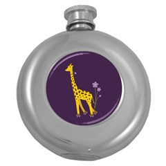 Purple Roller Skating Cute Cartoon Giraffe Hip Flask (Round)